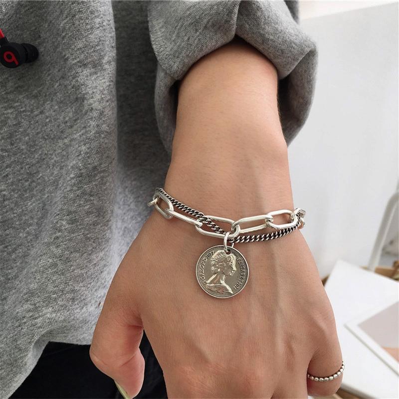 Punk Bracelets Carved Coin Head Bracelet Bangle Bohemian Circle Queen Thick Chain Tassel Pendant Bracelet Women Jewelry