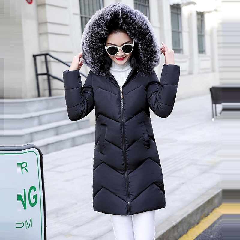 Plus Size S-6XL Vrouwen Winter Jas Nep Bontkraag Vrouw Parka Lange Bovenkleding Warm Donsjack Winter Jas Vrouwelijke Jas nieuwe 2019