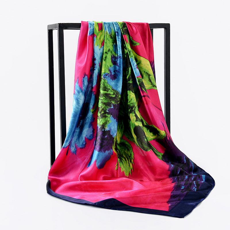 Silk Scarves Foulard 90cm Square Head Hijab Scarf Female Ladies Chiffon Shawl Bandanna Wrap Muffler Pareo Foulard Free Shipping