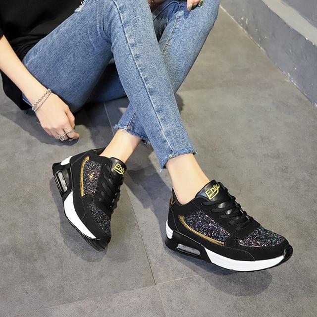 Zapatos de lentejuelas con diseño de moda para mujer, zapatos para correr con colchón de aire, zapatillas de ocio al aire libre, novedad de 2109 3