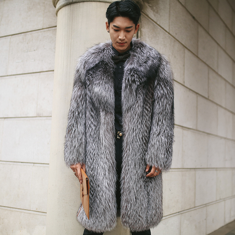Men's Fur Coat Winter Jacket Long Real Fur Coat Men Natural Fox Fur Coats And Jackets Luxury Coat Warm Outerwear 2020 16148