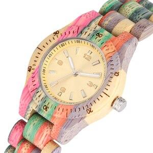 Image 2 - YISUYA petites femmes en bois montre bracelet à Quartz coloré montre bracelet jaune horloge dames montres meilleur cadeau de petite amie livraison directe