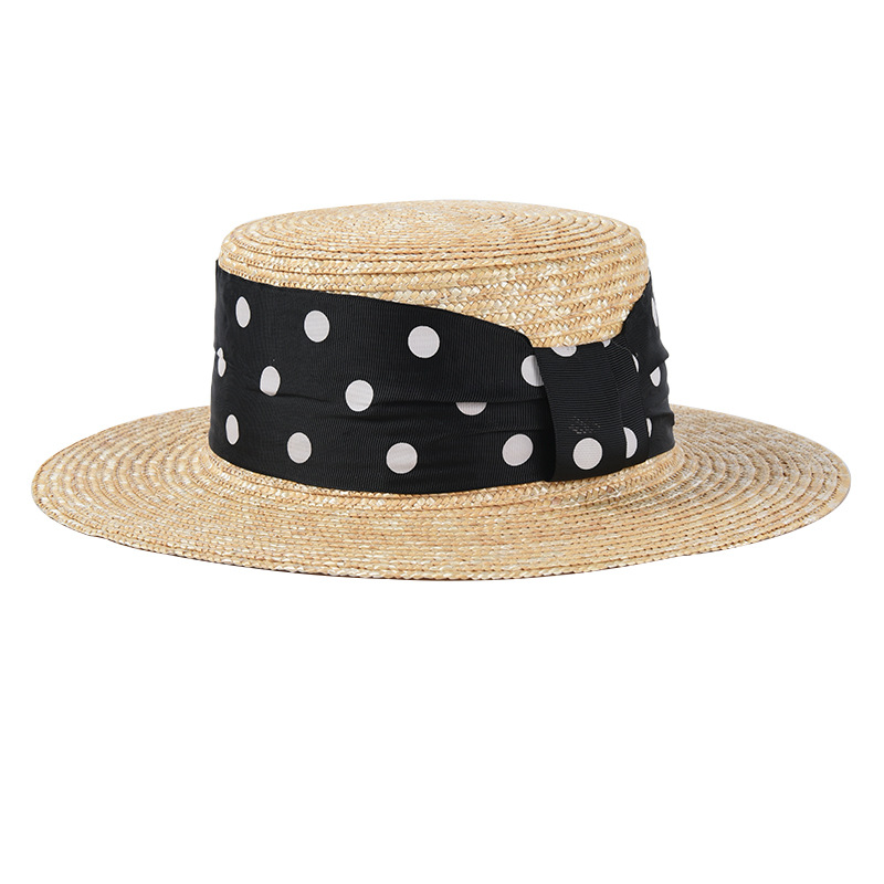 Fashion Wave Point Vacation Straw Hats For Women Summer UV Beach Hat Ladies Outdoor Visor Caps Wholesale