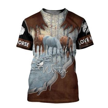 Tessffel Animal Love Racing Horse Funny Casual NewFashion Harajuku 3DPrint Summer Streetwear man's top T-shirts Short Sleeves s7 2