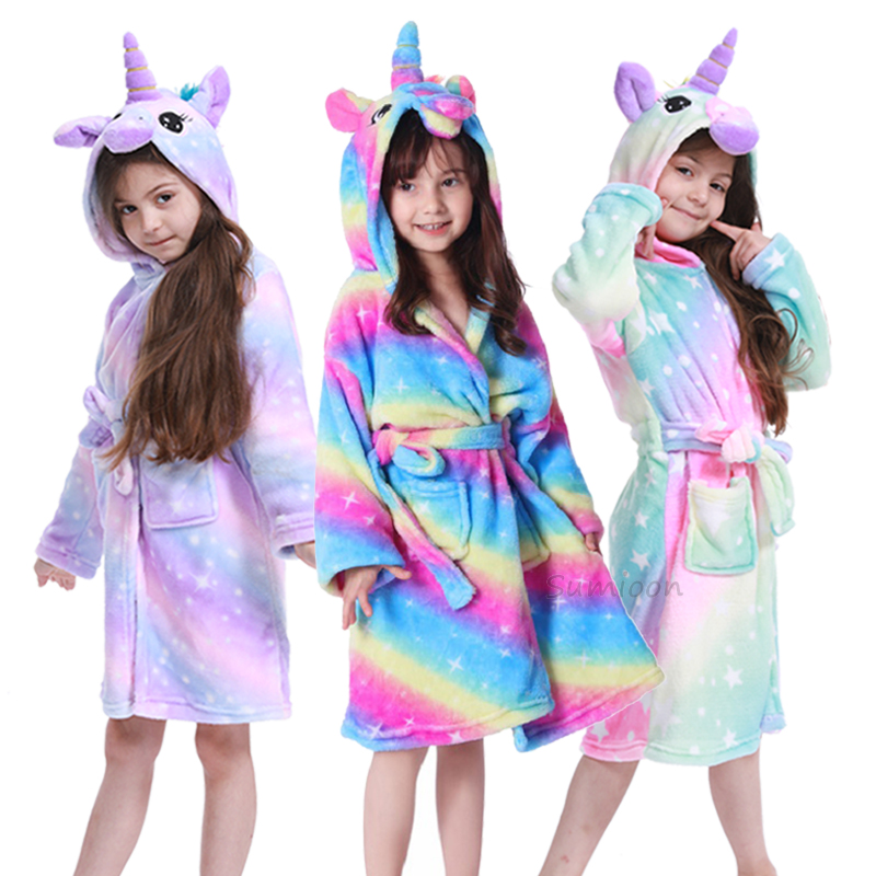 Baby Girls Boys Robes Children Bathrobe Hooded Soft Flannel Unicorn Robe Pajama Kids Coral Warm Clothes Baby Lovely Home Clothes