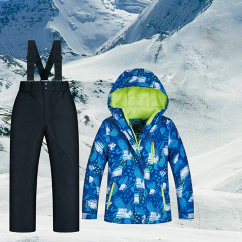 MUTUSNOW Kids Snow Jacket And Pants Waterproof Warm Thicken Winter Ski Snowsuit For Boys Skiing Snowboarding Outdoors