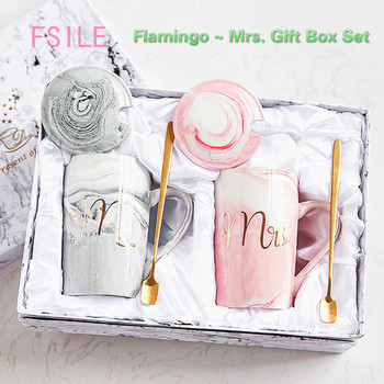 FSILE Marble Pattern Cup Gold Rim Mug Gift Box Set Coffee Cup  Couple Women Cup Flamingo Cup Ceramic with Hand Ceremony nordic style lovely pink gold marble pattern coaster ceramic drink coasters cup mat marble decor