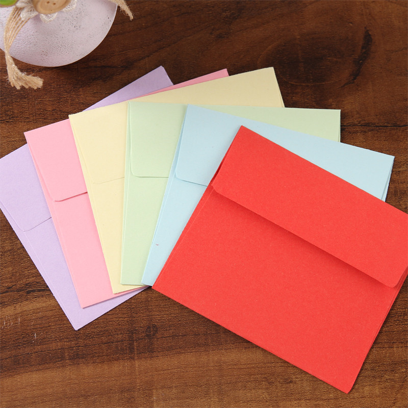 (10 Pieces/lot) 9*10cm Color Small Envelopes Solid Color Bank Card Membership Card Gift Candy-colored Paper Square Envelope