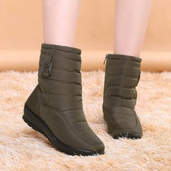 2020 Fashion snow boots women solid casual shoes woman winter ankle boots women shoes warm round toe zipper shoes women boots winter women boots female round toe long riding motorcycle boots shoes stylish flat flock shoes winter snow boots shoes
