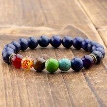 Natural Lapis Lazuli Stone 7 Chakra Bracelets & Bangles Yoga Balance Bead Buddha Prayer Elastic Bracelet Men pulseira Drop Ship