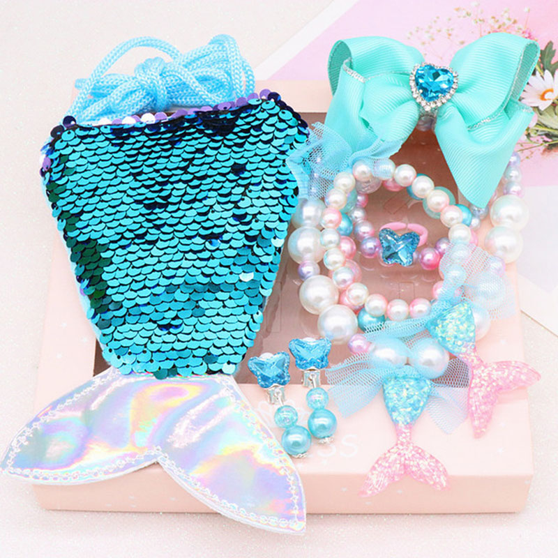 Kids jewelry sets for girls chirldren mermaid Princess ice pink blue acrylic plastic resin toys necklace bracelet ring bag