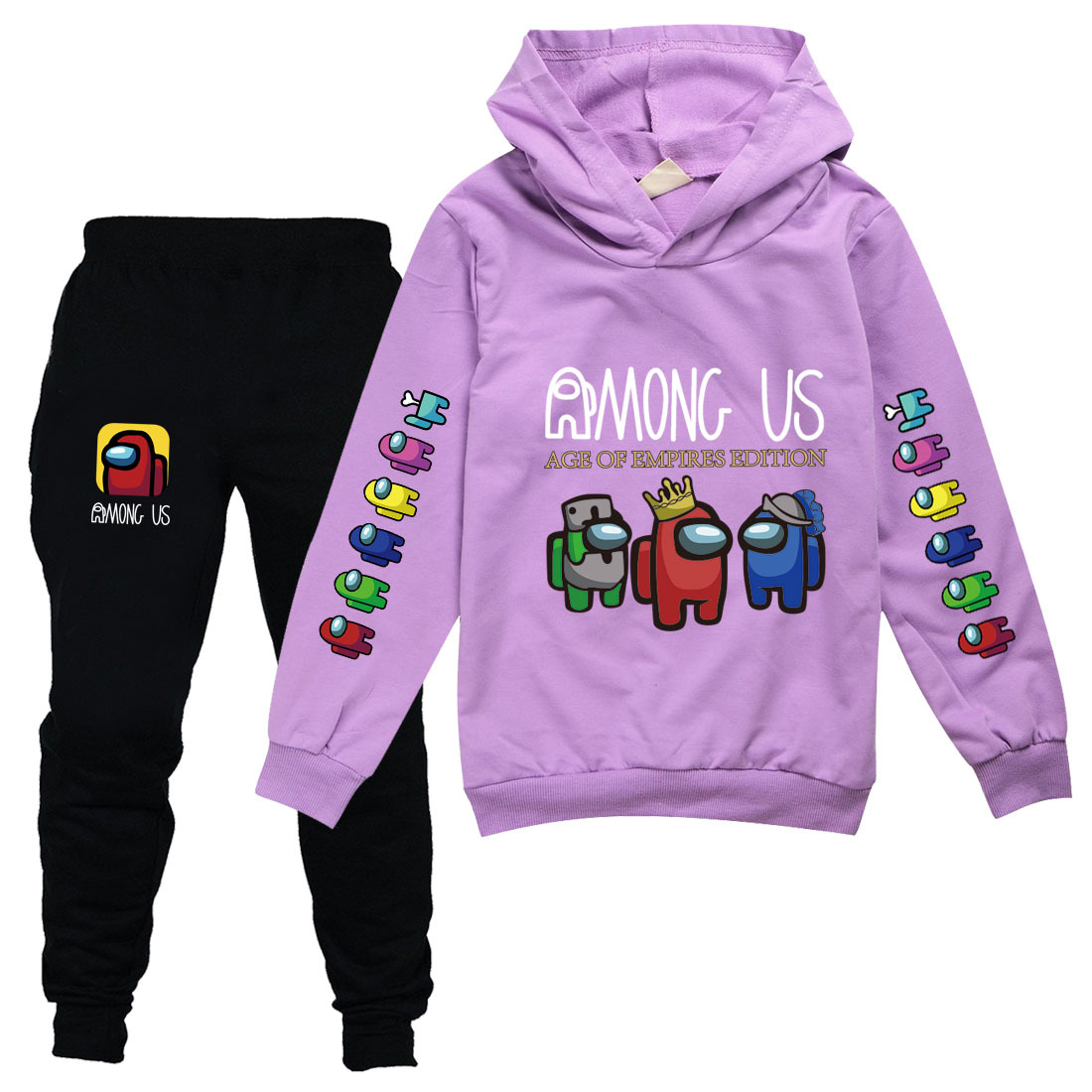 EELMOOR Among Us Sus Game Tracksuit Sets Youth Hoodie and Sweatpants Suit Outfit Fashion Sweater Set for Boys Girls