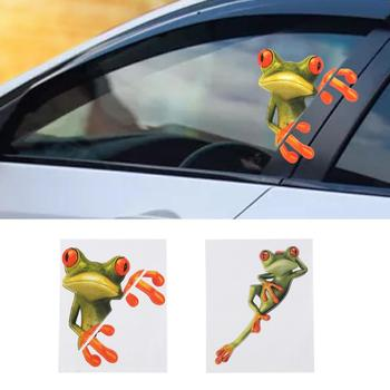 Car Stickers Car 3D Stereo Frog Sticker Funny Cute Green Decal For Car-styling Automobile Window Decoration Car Accessories image