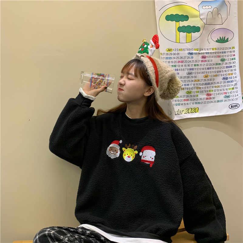 크리스마스 스웨터 귀여운 만화 칼라 tracksuits 여성 후드 스웨터 2019 겨울 풀오버 두꺼운 느슨한 여성 학생 chr
