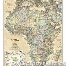 Gran mapa Vintage africano Bar Café decoración del hogar póster antiguo detallado gráfico de pared Retro algodón tela lienzo pintura 2 tamaños