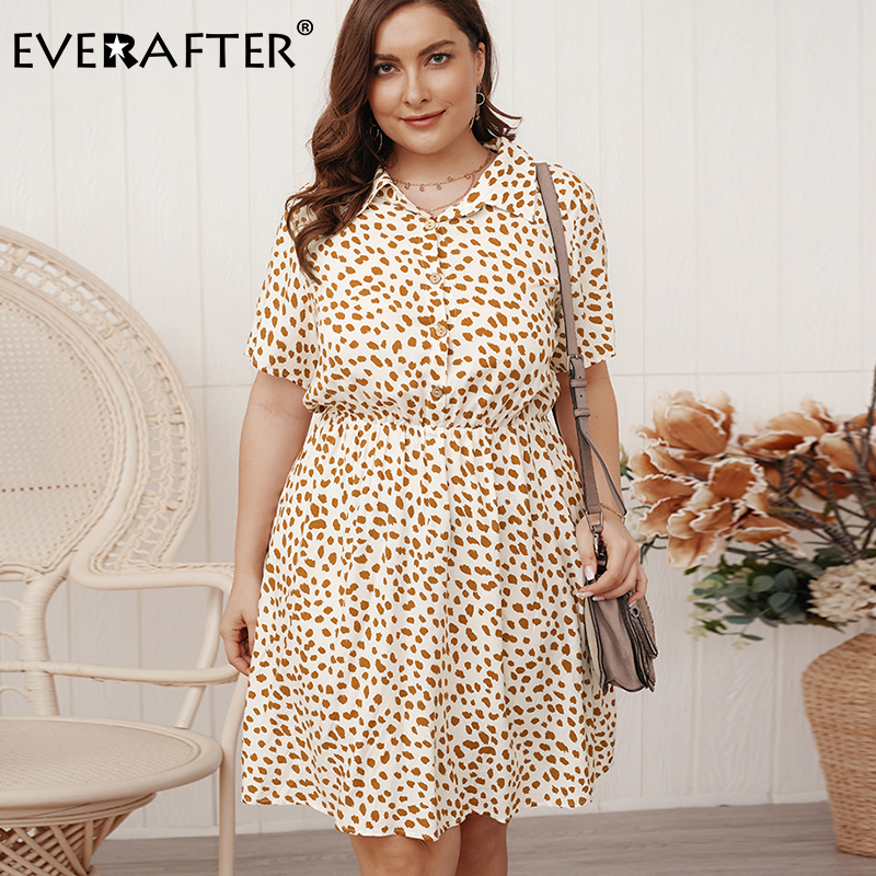 EVERAFTER Plus Size Leopard Print Summer Dress Women Turn-down Collar Short Sleeve Casual Female Midi Dress Bohemian Dresses