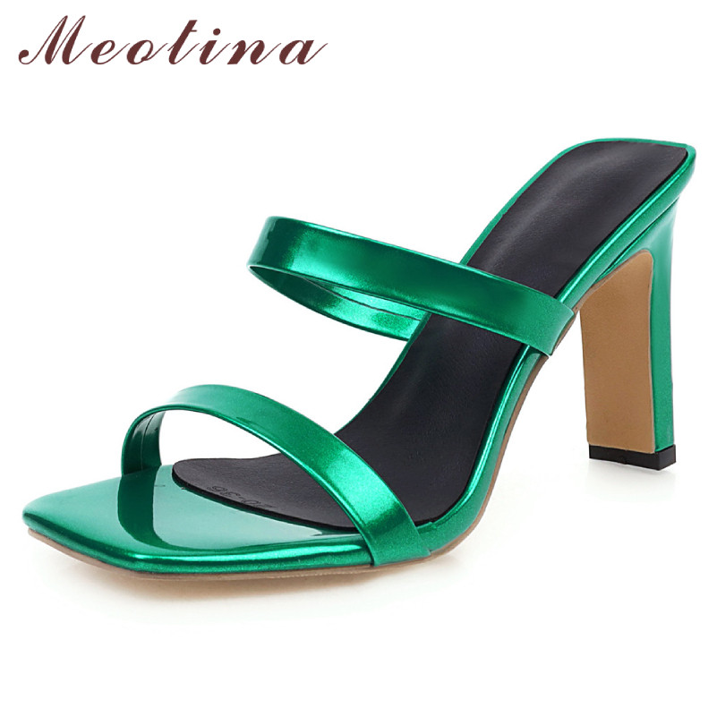 Meotina Summer Slides Women Shoes Fashion Thick High Heels Shoes Elegant Open Toe Slippers Ladies Sandals Green Plus Size 34-46