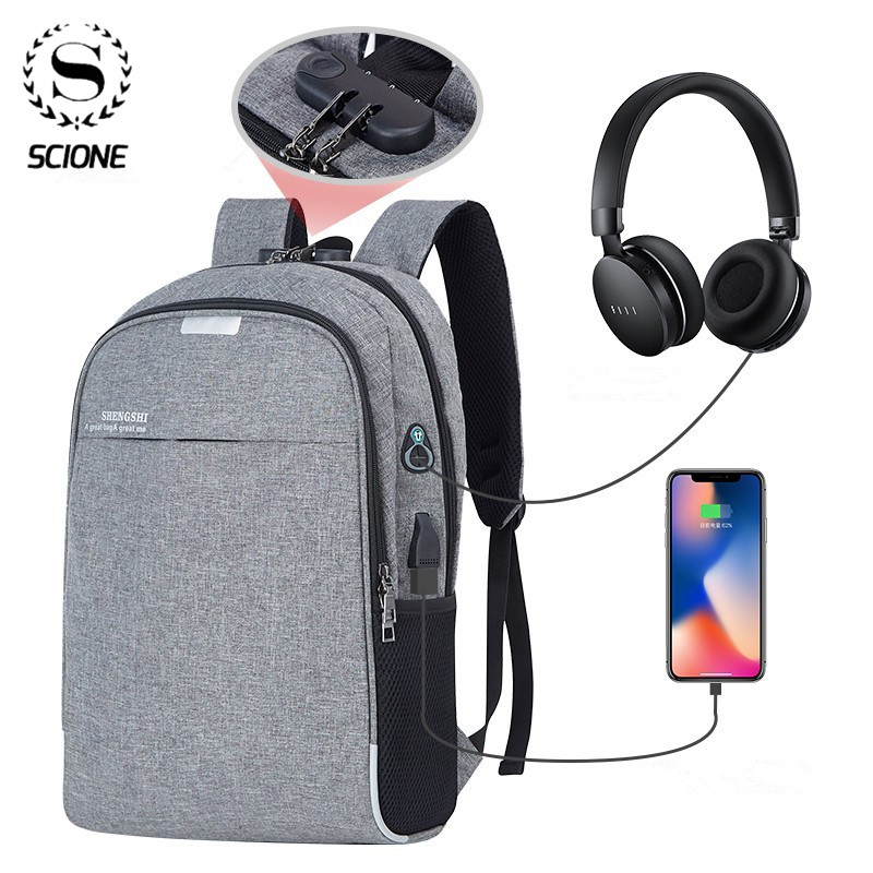 Scione Anti-theft Bag Men Laptop Rucksack Travel Backpack Men Large Capacity Business USB College Student School Shoulder Bag