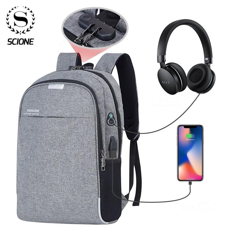 Scione Anti-theft Bag Men Laptop Rucksack Travel Backpack Men Large Capacity Business USB College Student School Shoulder Bag