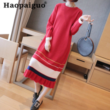 Contrast Red Blue Autumn Knitted Dress Women Long Sleeve Print Striped Soft Brief Casual Dress Women Loose Bandage Midi Dresses