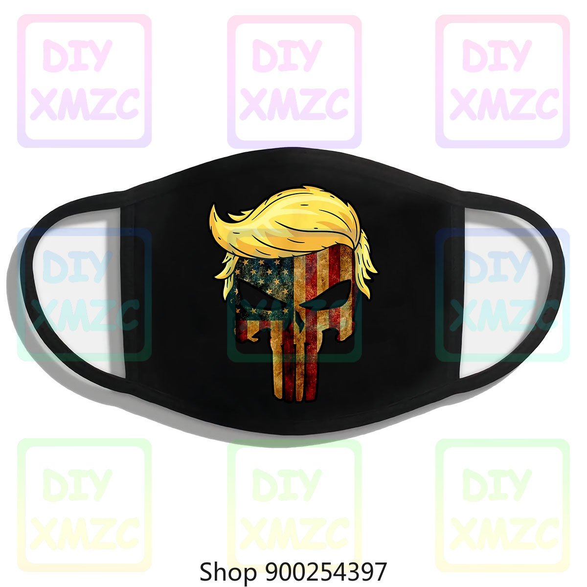 Crânio preto com icônico trump cabelo presidente bandeira américa tmask 100 algodão