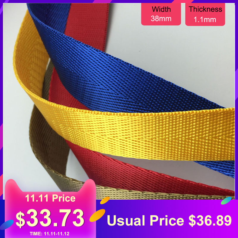 50 Yards 38mm 1-1/2 1.1mm Thickness Nylon Twill Tape Bag Straps Ribbon For Sewing Webbing Trimming Garment Handmade