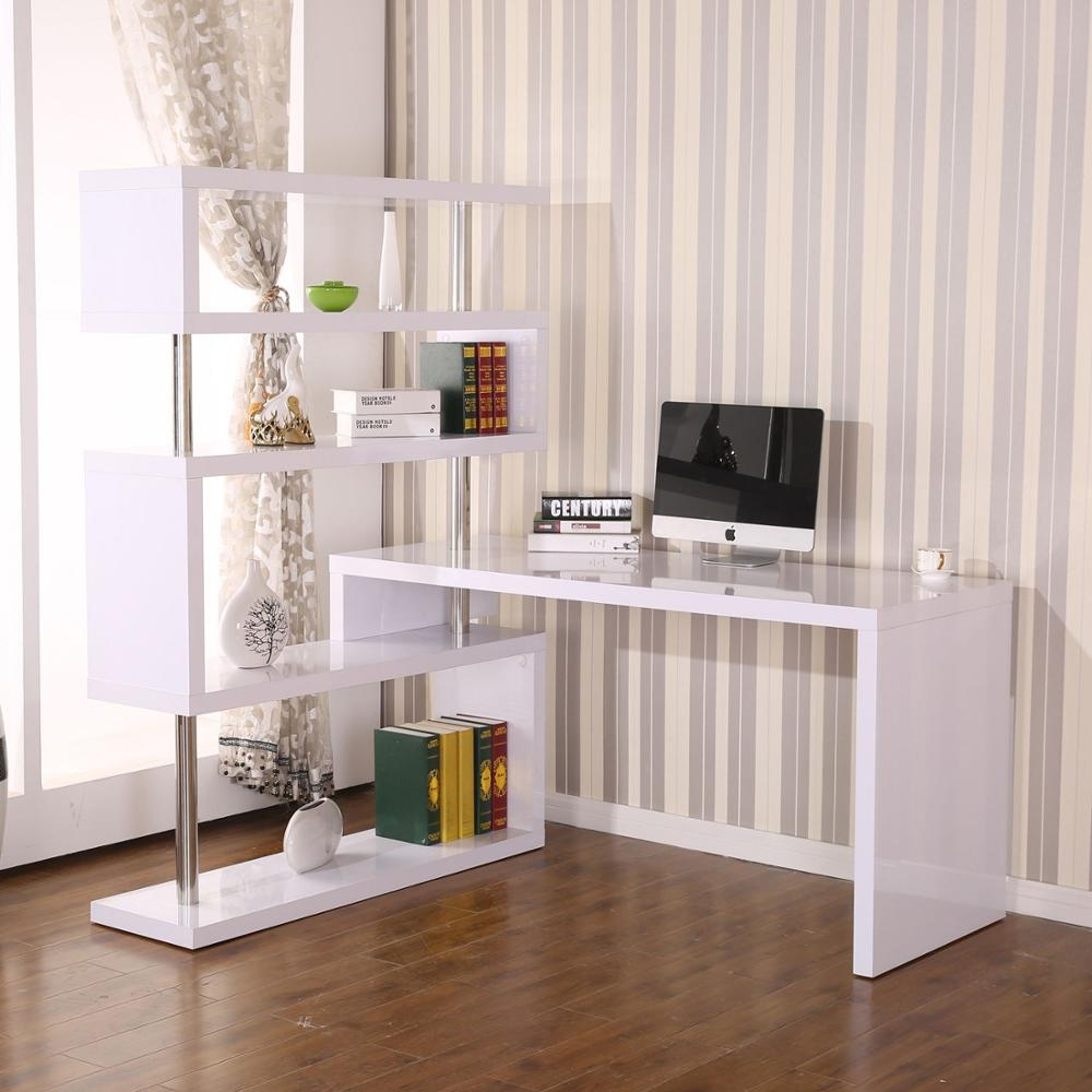 【USA Warehouse】Foldable Rotating Corner Desk And Shelf Combo - White