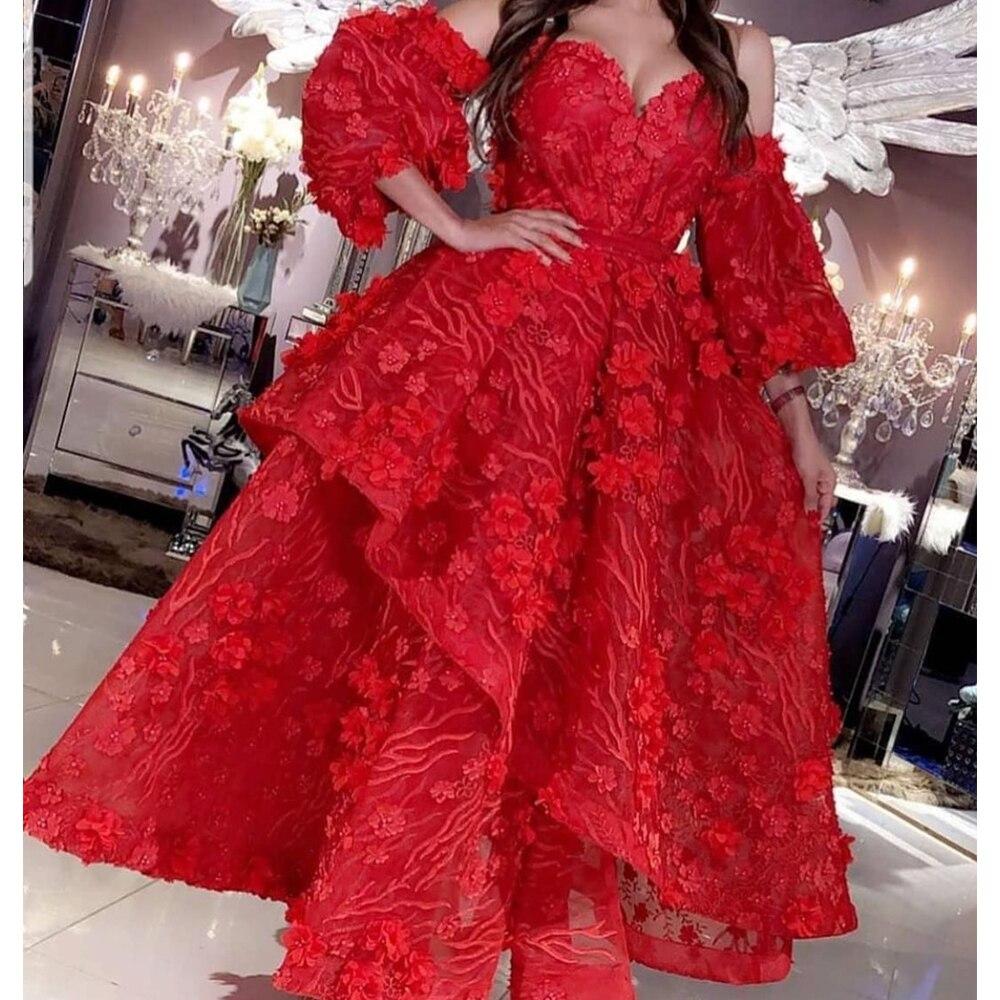 Red Prom Dresses 2020 Vestidos De Gala Sweetheart Neckline Hand Made Flowers Long Sleeve Evening Dresses Gowns