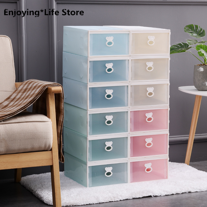 Plastic Transparent Shoe Boxes Sneakers High Heels Organizer Container Thickened Stackable Various Shoes Housekeeper Accessories