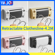 Retractable Clothesline Indoor Outdoor Drying Rack Telescopic Stainless String Invisible Laundry Dryer Double Rope