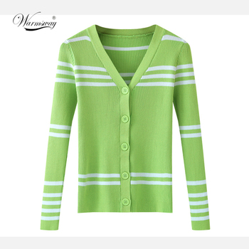 Striped Knitted Sun protection Cardigan Spring and summer Female V-Neck Sweet Korean Long-sleeved Outerwear Chic Jacket CY-164