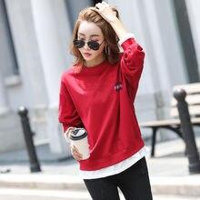 Женский Осенний хлопковый свитер с длинным рукавом новый простой