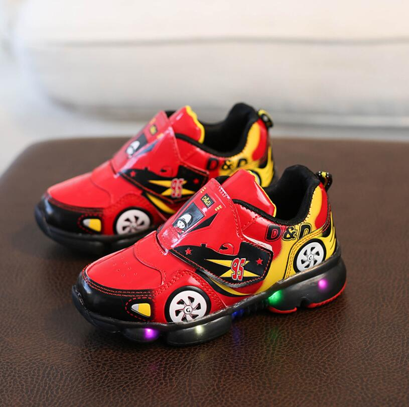 Child Sport Shoes Spring Car Cartoon Luminous Breathable Kids Boys Shoes Girls Anti-Slippery Sneakers With Light Running Shoes