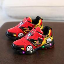 Child Sport Shoes Spring Car Cartoon Luminous Breathable Kids