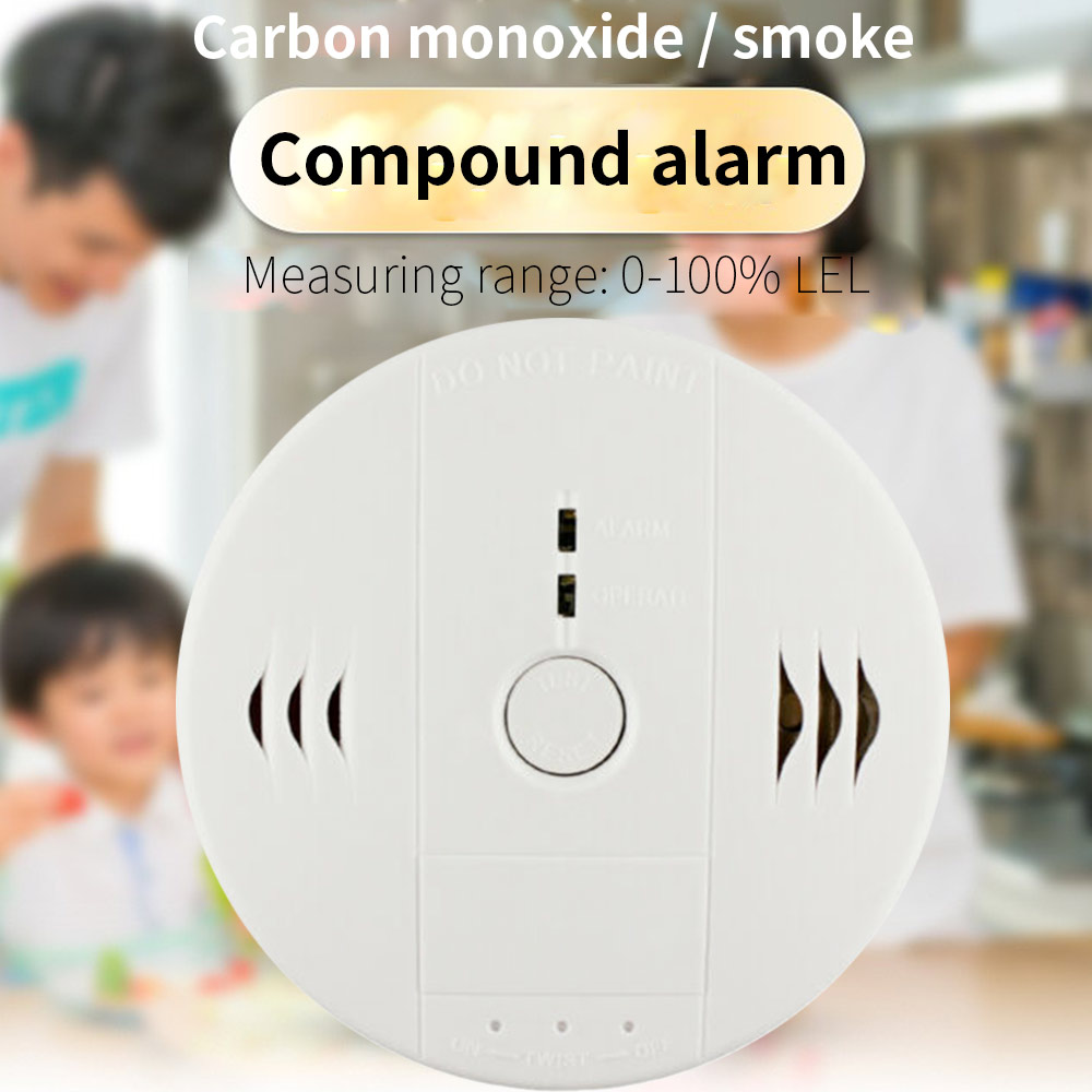 2 In 1 Carbon Monoxide&Smoke Alarm Smoke Fire Sensor Alarm CO Carbon Monoxide Detector Sound Combo Sensor Tester Battery Operate