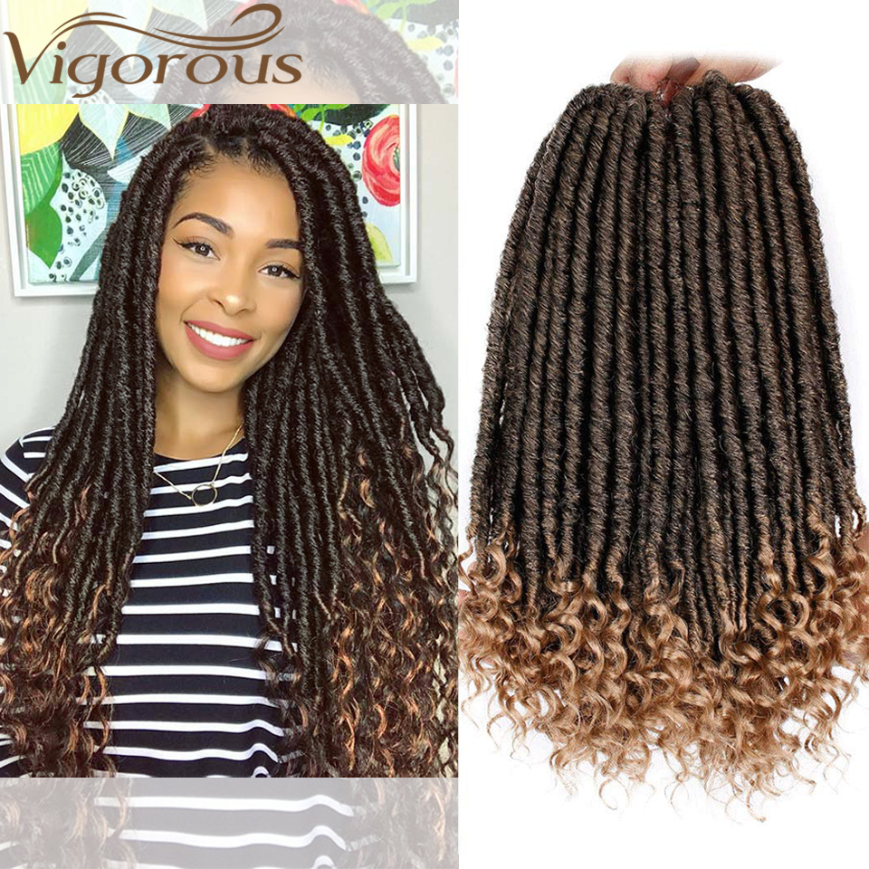 Vigorous Faux Locs Crochet Braids 16 20 Inch Soft Natural Soft Synthetic Hair Extension 24 Stands/Pack Goddess Locks