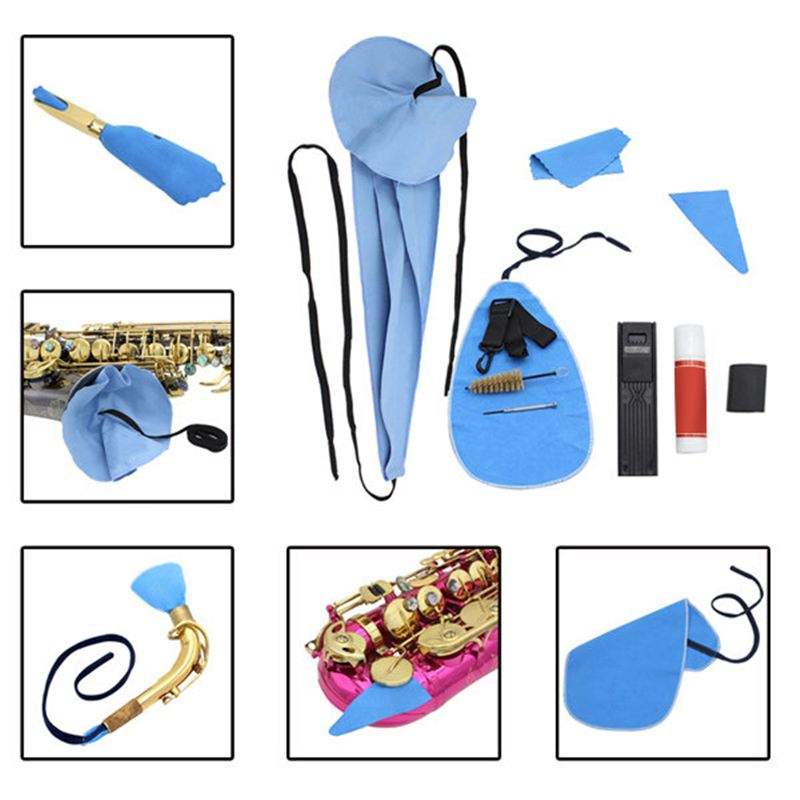 Durable Saxophone Sax Cleaning Care Tool Case Kit Cleaner Accesories Cloth Brush Mouthpiece Brush Thumb Rest Strap Parts