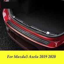 цена на For Mazda3 Mazda 3 Axela 2019 2020 Car Trunk Rear Bumper Plate Rear Bumper Trim Anti-kick Scratch Stickers Car Decorative Parts