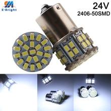 Luz branca de led para carro, luz de led para backup de veículos p21w 1156 ba15s 1157 1206 50 smd com 10 peças 24v indicador de luz de estacionamento do sinal