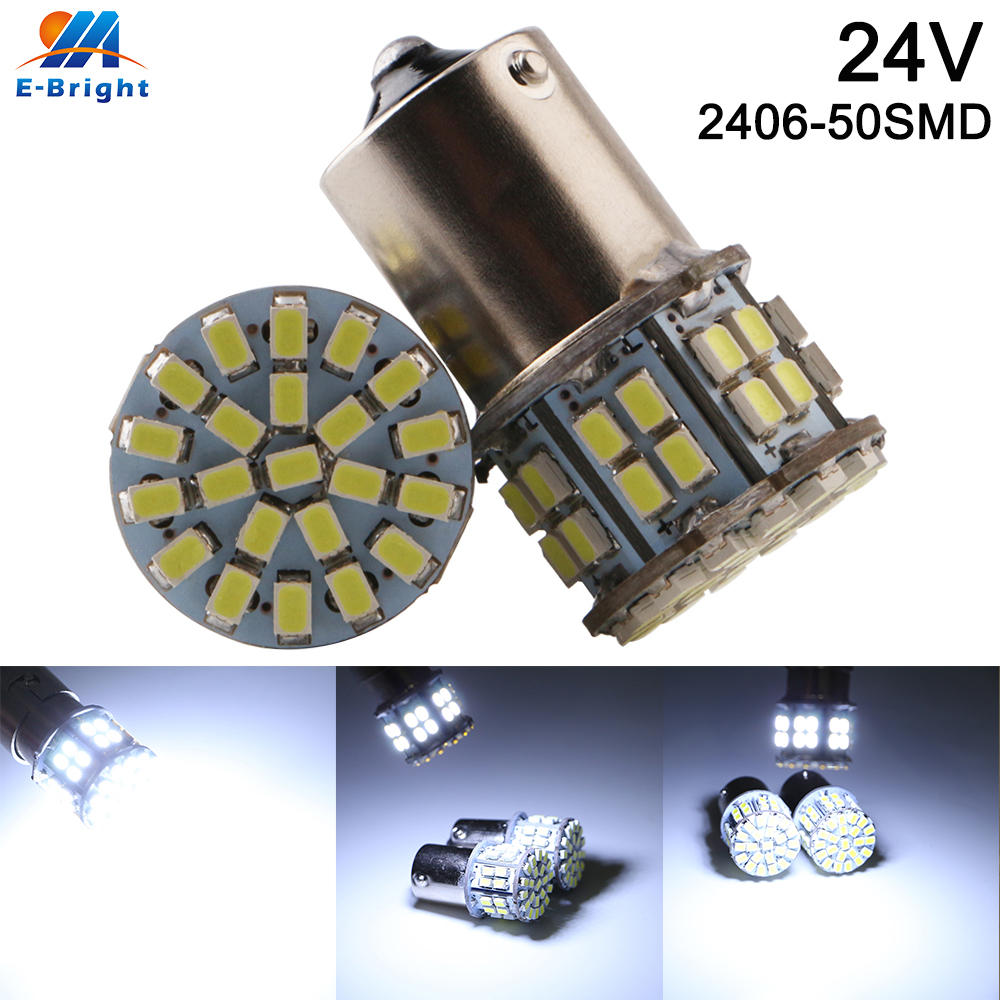 10pcs 24V White P21W 1156 BA15S 1157 1206 50 SMD Led Bulb 400LM Vehicles Backup Tail Light Turn Signal Parking Light Indicator