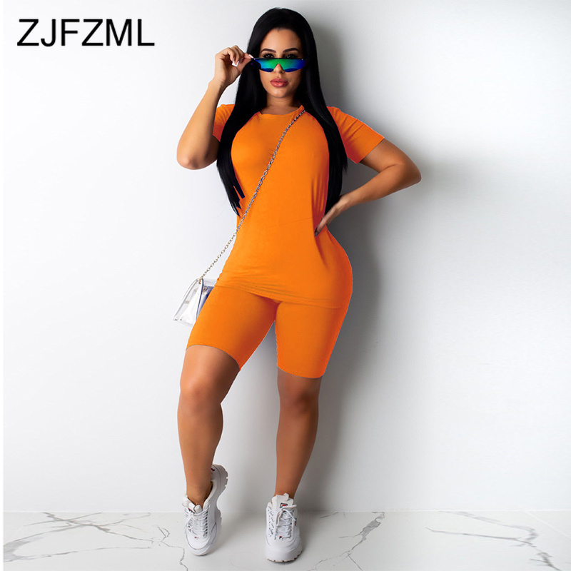 2020 Workout Active Wear Plus Size Tracksuit Women O Neck Short Sleeve Top High Waist Bodycon Shorts Matching Sets Club Outfits