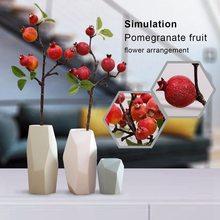 Красное украшение для дома на закате, искусственный орнамент для моделирования, гранат, фруктовая ветка, короткая ветка, для сада, искусственный гранат, фрукты si
