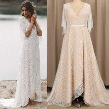 Vestido de noiva estilo boho, linha, com mangas morcego, renda, pescoço em v, costas altas, baixo, feito sob encomenda, 2021