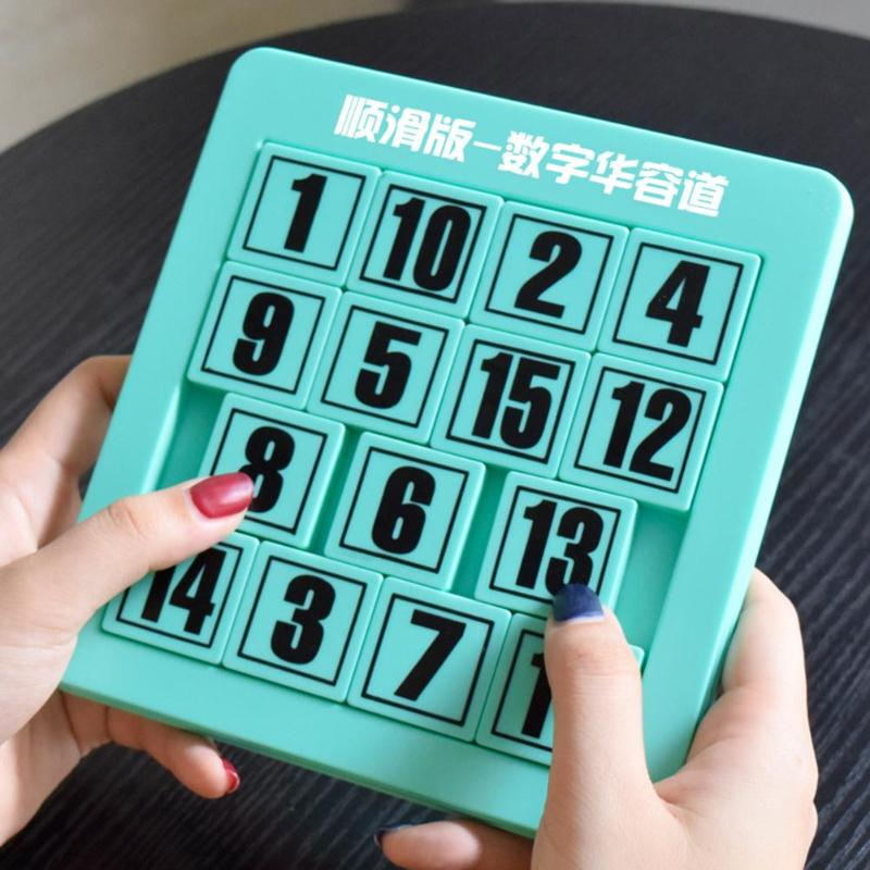 Classic Wooden Digital Huarong Road Early Learning Puzzle Children's Toys Development Puzzle Math Games Math Educational Toys