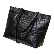 Новые модные повседневные глянцевые сумки из кожи аллигатора, Большая вместительная женская простая сумка для покупок, сумки из искусственной кожи на плечо(черные