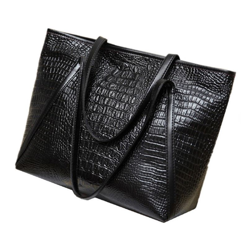 NEW-New Fashion Casual Glossy Alligator Totes Large Capacity Ladies Simple Shopping Handbag PU Leather Shoulder Bags(Black)