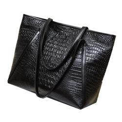 Novo-nova moda casual brilhante jacaré totes grande capacidade senhoras simples compras bolsa de ombro de couro do plutônio (preto)