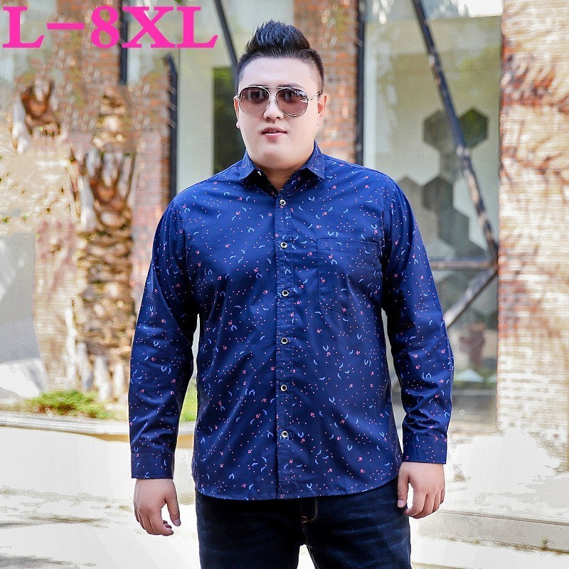 2020 Plus Size 8XL 7XL 6XL 5XL Spring And Autumn New Men's  Shirts Male  Long Sleeve Party Shirts Men Print Business Shirt