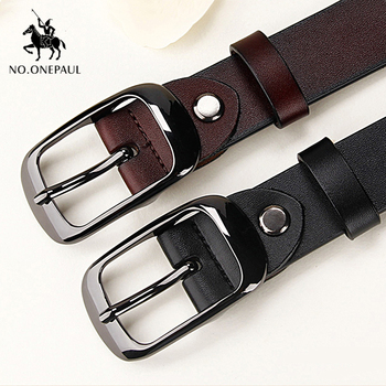 NO.ONEPAUL Women's genuine leather fashion retro belt high quality luxury brand ladies metal double buckle new belt with jeans