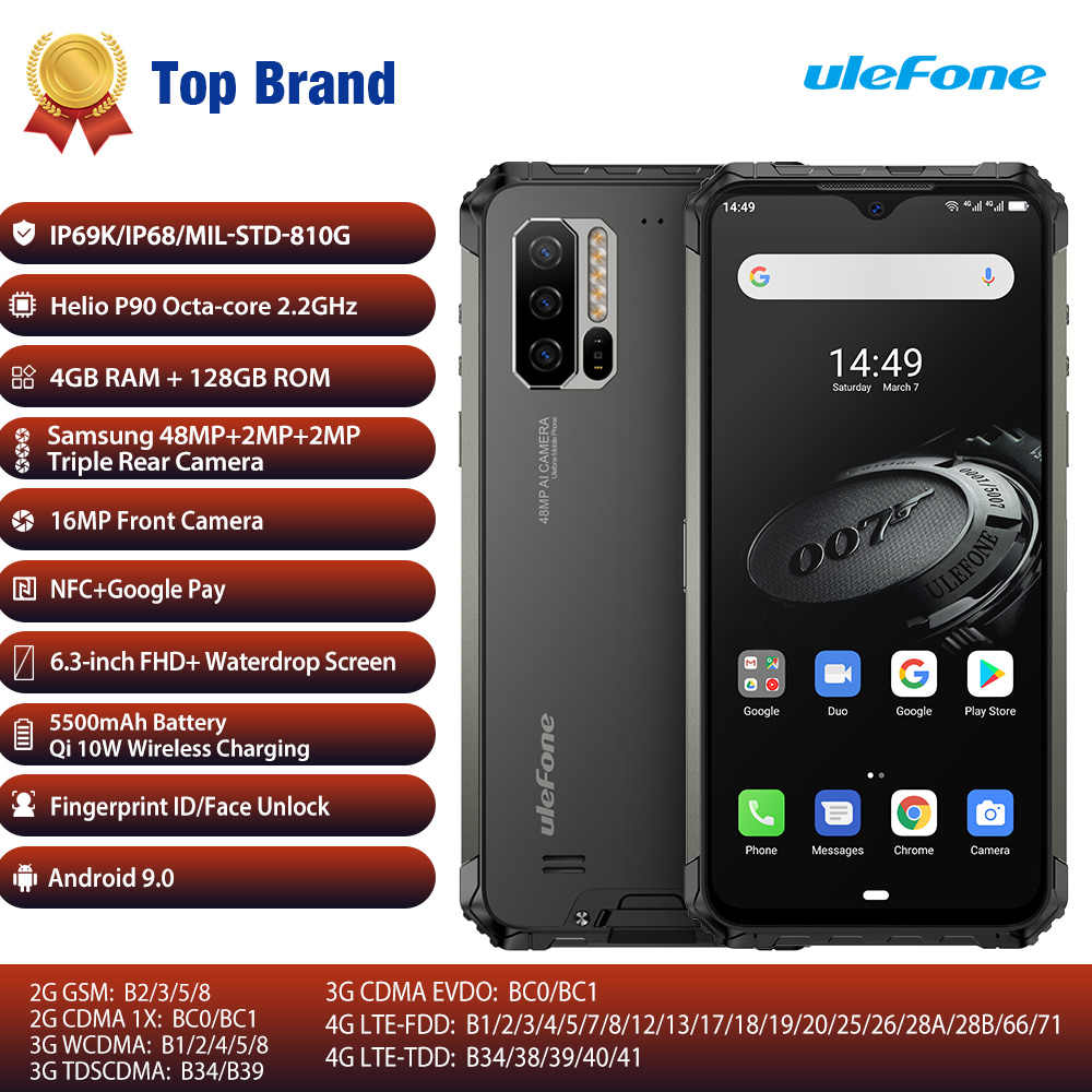 Ulefone Rüstung 7E Robuste Handy Helio P90 + 128G Smartphone 2,4G/5G WiFi Wasserdichte IP68 globale Version Android 9,0 NFC/48MP